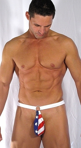 Mens Red White N Blue Bikini or Thong Swimwear