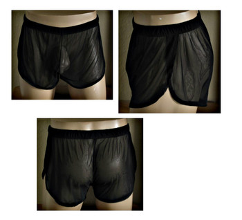 Mens Sheer Split Side Shorts Cover up