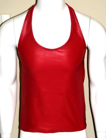 MENS WETLOOK LOW CUT TANK TOP - ( 12  COLOR SELECTIONS )
