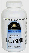 L-Lysine 500 mg 100 capsules by Source Naturals