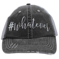 #Whatever - Distressed Grey Trucker Cap
