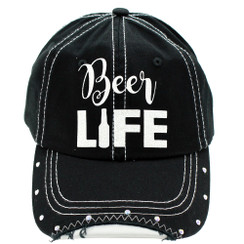 Beer Life - Distressed Black and White Cap with rhinestones