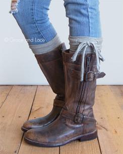 Jersey Tie Boot Cuffs - Grey