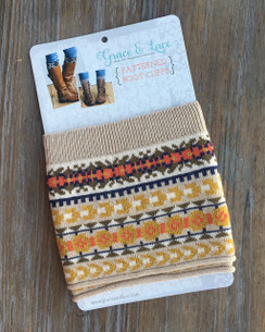 Patterned Boot Cuffs - Fair Isle (tan/mustard/coral)