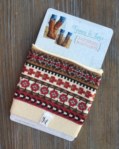 Patterned Boot Cuffs - Nordic Fair Isle (brown/red/mint)