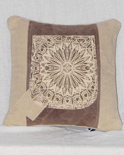 Sunburst Canvas and Leather Throw Pillow