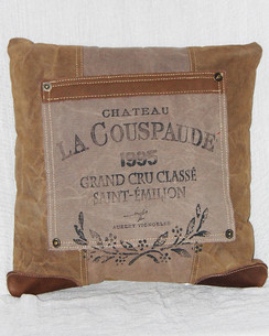Chateau Canvas and Leather Throw Pillow