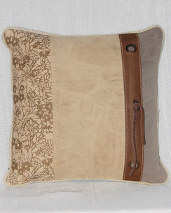Canvas and Leather Tie Throw Pillow