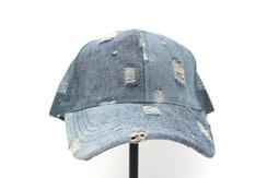 CC Beanie Distressed High Pony Tail Hat - Denim