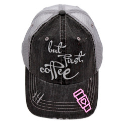 But First Coffee Trucker Cap - Distressed Grey