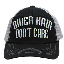 Biker Hair Don't Care Trucker Cap - Black