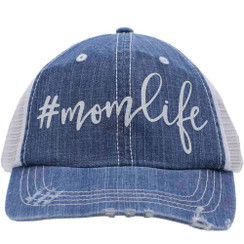 #momlife Trucker Cap - Distressed Denim