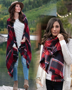 Winter Weight Pocket Poncho/Scarf - Red/Midnight
