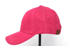 CC Beanie Cotton High Pony Tail Hat - Red