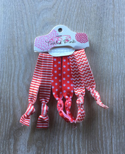 Hair Ties - Red White Short