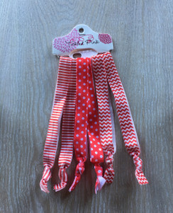 Hair Ties - Red White Long