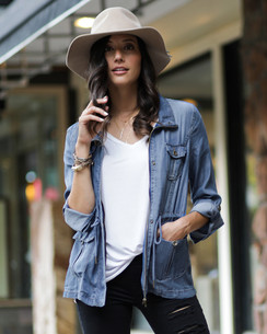 Grace and Lace Washed Tencel Cargo Jacket™ Chambray