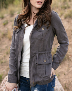 Grace and Lace Washed Tencel Cargo Jacket™ Grey