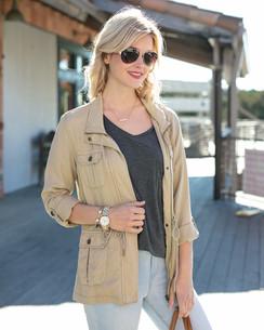 Grace and Lace Washed Tencel Cargo Jacket™ Khaki