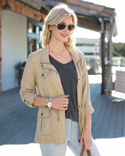 Grace and Lace Washed Tencel Cargo Jacket™ Khaki