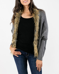 Grace & Lace Cocoon Sweater w/Faux Fur Trim  - Gray