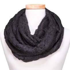 Tickled Pink Knit Winter Infinity Scarf - CAN650 - Black
