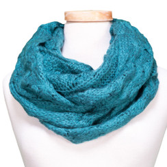 Tickled Pink Knit Winter Infinity Scarf - CAN650 - Teal