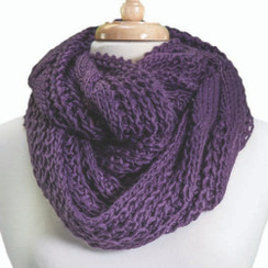 Tickled Pink Knit Winter Infinity Scarf - FIN222 - Purple