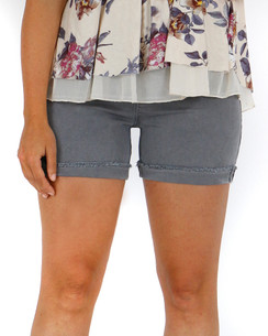 Grace and Lace Colored Zip Up Midi Shorts - Graphite