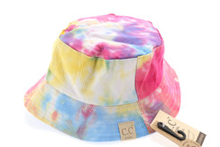 Kids Tie Dye Reversible CC Bucket Hat - Hot Pink/Lt. Blue