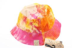 Kids Tie Dye Reversible CC Bucket Hat - Orange/Rose