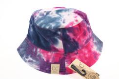 Kids Tie Dye Reversible CC Bucket Hat - Navy/Hot Pink