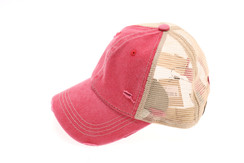 Washed Mesh Back Cotton Classic CC Ballcap - Red