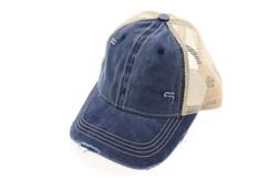 Washed Mesh Back Cotton Classic CC Ballcap - Navy