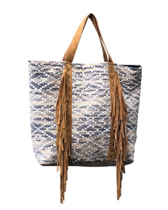 Chloe and Lex - Leather Fringes Tote