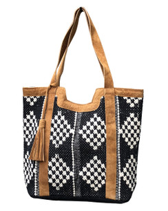 Chloe and Lex - Leather Trimmed Diamond Tote