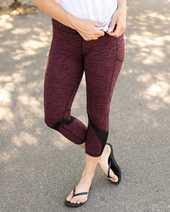 Grace and Lace Athleisure Pocket Legging - Heathered Wine