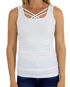Grace and Lace Perfect Fit Strappy Tank - White