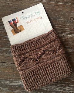 Cable Knit Boot Cuffs - Coffee