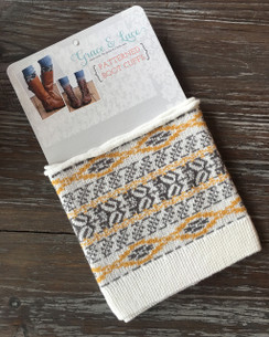 Patterned Boot Cuffs - Aztec (gray/yellow)