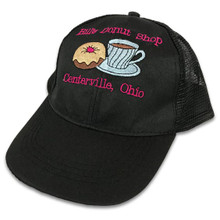Embroidered Black Cap with Pink Text