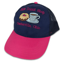 Embroidered Blue Cap with Pink Bill and Text
