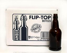 16oz Amber Flip Top Bottles