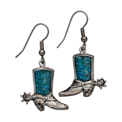 Silver Boots, Inlaid Turquoise  - 311-552