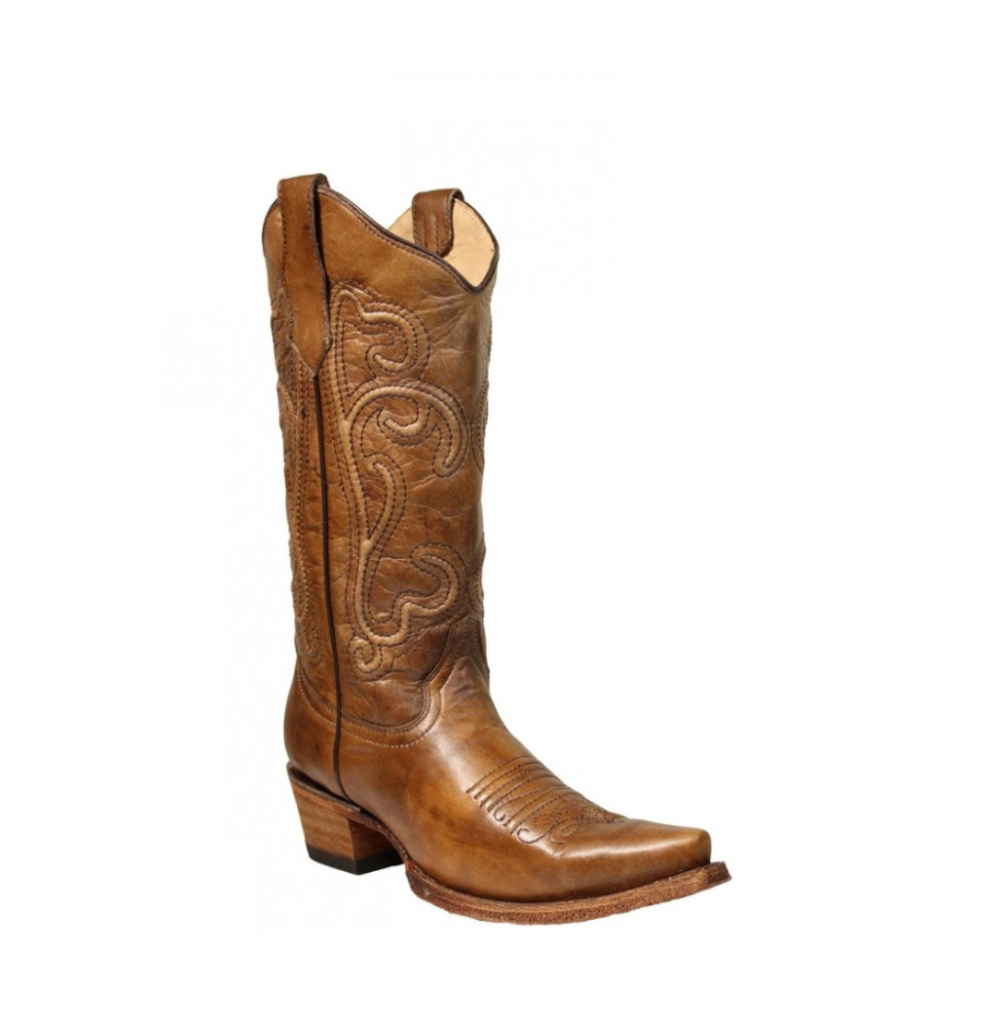 a918f5ea3ae Corral Women's Embroidered Snip Toe Western Boots Brown Corded - L5305