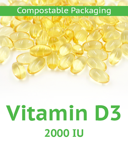 Vitamin D3 2,000 IU Softgel - 100 Count Compostable Bag