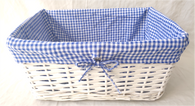"Rectangular white willow basket w/blue fabric liner 15""x10""x7""H (min 2 , 30/crtn)"