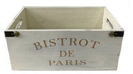 "BISTROT DE PARIS White wash, rustic finish wood crate with side handles 13""x8""x6.5""H"