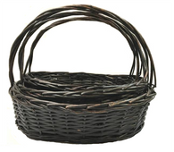 "Set of 3 Oval willow basket with handle L:20""x15""x7""Hx16.5""Hx16.5""OH M:17""x12""x5.5""x14""OH S:15""x10""x5""Hx12""OH"