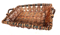 """Rectangular willow and seagrass basket with wooden handles 22""""x17""""x5""""H (Dimensions exclude handles)"""